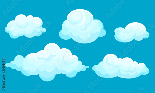 Blue sky with white clouds. Vector illustration. - 304084984