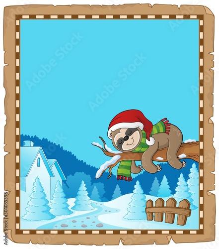 Spoed Fotobehang Voor kinderen Christmas sloth theme parchment 1