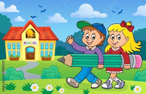 Spoed Fotobehang Voor kinderen Children holding big pencil image 2