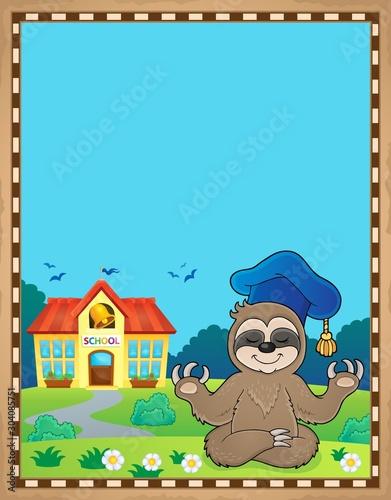 Spoed Fotobehang Voor kinderen Sloth teacher theme parchment 1
