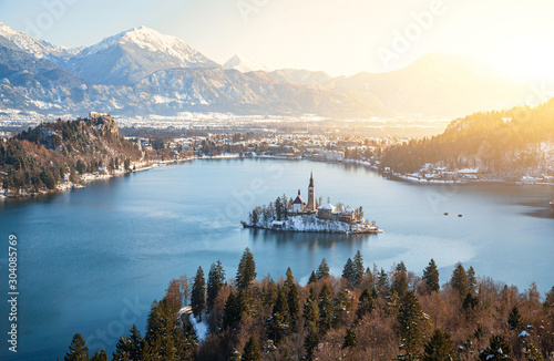 Panoramic aerial view of famous Bled Island (Blejski otok) at scenic Lake Bled w Canvas Print