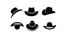 Set Of Black Cowboy Hat Logo I...