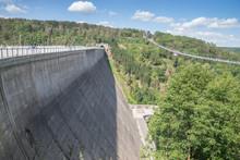 Rappbode Dam In Harz Mountains, Suspension Bridge, Saxony Anhalt, Germany