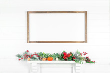 Horizontal Wooden Frame On A White Wall