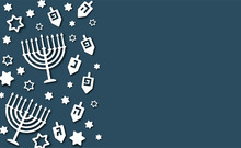 Hanukkah Background With Holiday Candles, Dreidels, Hebrew Letters And David Stars. Modern Paper Cut Design For Jewish Festival Of Light. Vector Illustration With Place For Your Text