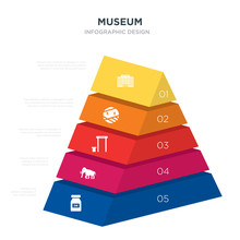 Museum Concept 3d Pyramid Chart Infographics Design Included Ink, Mammoth, Metal Detector, Mummy, Museum, _icon6_, _icon7_, _icon8_ Icons