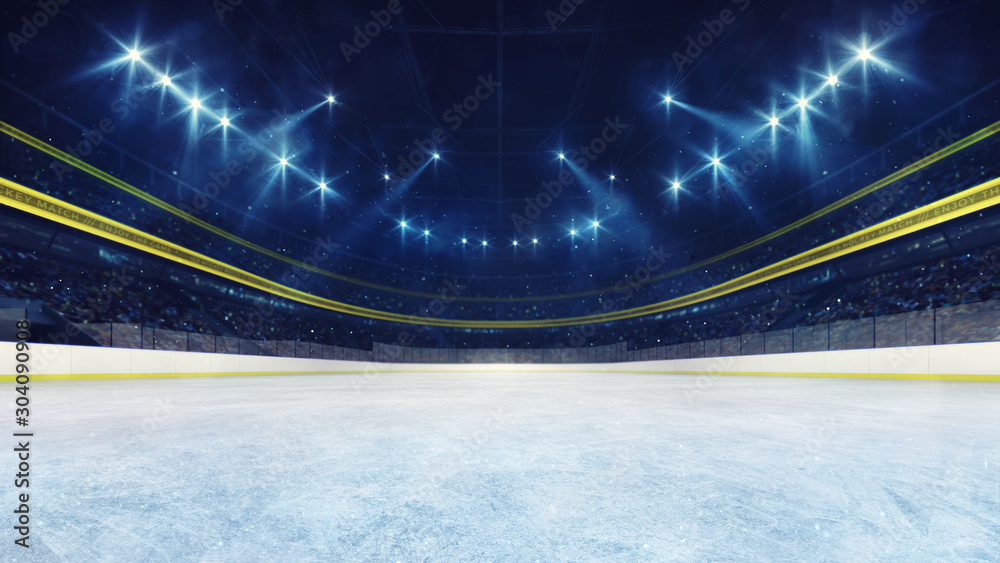 Fototapety, obrazy: Empty ice rink and illuminated stadium with fans, front playground view. Professional ice hockey sport 3D render illustration background.