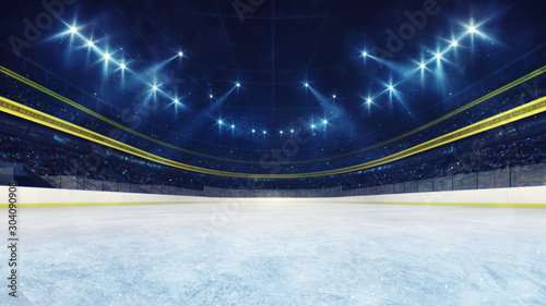 Empty ice rink and illuminated stadium with fans, front playground view Wallpaper Mural