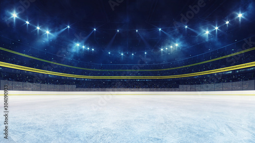 Empty ice rink and illuminated stadium with fans, playground view Canvas Print