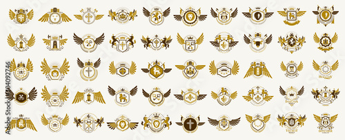 Photo Classic style emblems big set, ancient heraldic symbols awards and labels collection, classical heraldry design elements, family or business emblems