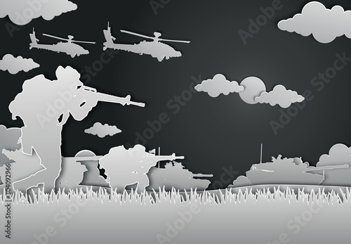 Fotografía Military vector illustration, Army background, soldiers paper art style
