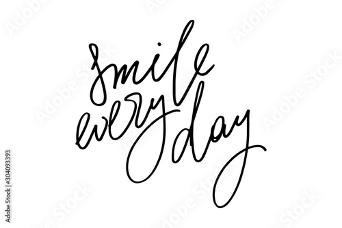 Fototapeta Inspirational phrase writing smile every day handwritten text vector