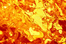 Abstract Golden Orange Background. Flashes In The Sun, Liquid Fire. Flowing Lava Colors Paint