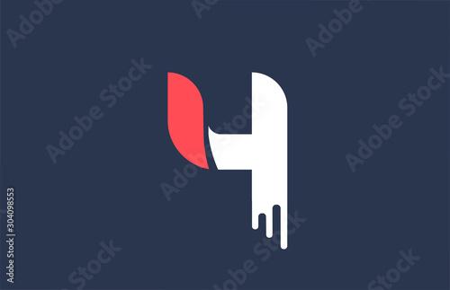 Fotografía  number 4 white orange design logo for company icon