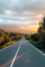 Beautiful Sunset Over A Mountain Road In Mallorca