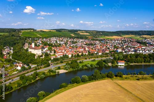 Fototapeta Aerial view, Horneck Castle, Castle of the Teutonic Knights, Gundelsheim, Odenwald, Baden-Württemberg, Germany, obraz na płótnie