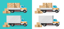 Cargo Truck Loading Parcel Package Boxes Or Delivery Van Vehicle Vector Illustration, Flat Cartoon Industrial Automobile Or Car With Freight, Postal Logistics Or Warehouse Courier Isolated Clipart