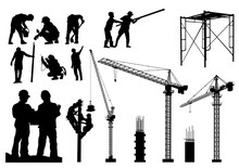 Construction Silhouette Vector...
