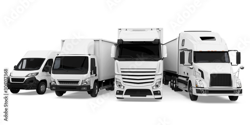 Fleet of Freight Transportation Isolated Wallpaper Mural