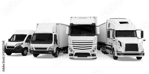 Fotografía  Fleet of Freight Transportation Isolated