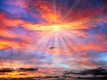 Cloudy Sunrise Sky In Blue, Re...