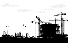 Construction Silhouette Vector...