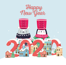 Happy New Year 2020 Celebration Cute Bear Penguin With Hat Sweater Town Snow