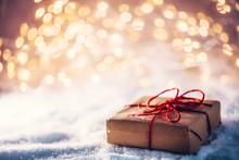 Christmas Gift On Snow, Wrappe...