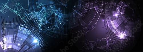 Fototapeta Abstract technology background with plexus effect. Vector illustration. obraz