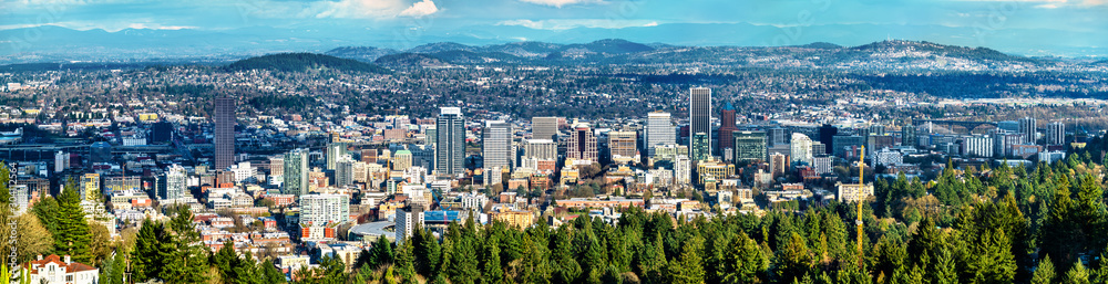 Fototapety, obrazy: Panorama of Portland downtown in Oregon