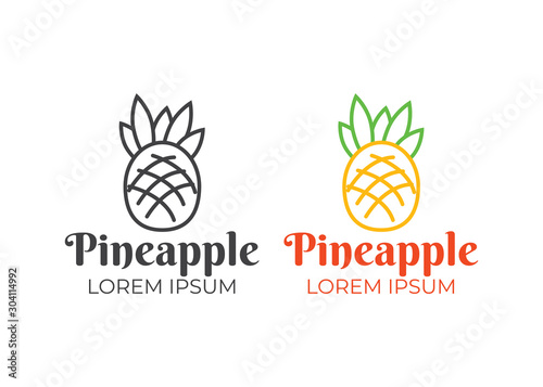 Pineapple logo vector. Tropical pineapple abstract icon - 304114992