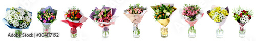 Photo set of multi-colored bouquets of flowers in a glass vase isolated on white
