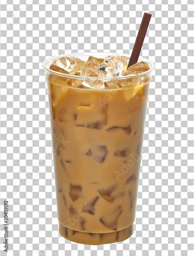Iced coffee or caffe latte in plastic takeaway cup isolated on checkered backgro Poster Mural XXL