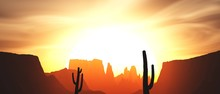 Canyon And Cactus At Sunset, S...