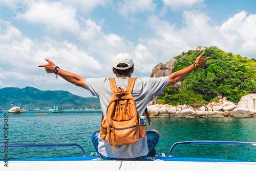 Fototapeta Man traveler relaxing on boat joy fun beautiful nature scenic landscape Koh Tao island, Water adventure travel Samui Thailand, Active Tourist on summer holiday vacation trips, Tourism destination Asia obraz