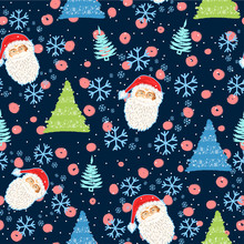 Hand Drawn Doodle Seamless Pattern With The Face Of Santa Claus And Christmas Trees And Snow - Vector