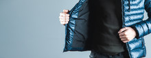 Man Hand  Jacket On Gray Backg...