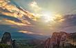 Meteora monastery, Greece. Beautiful landscape of monastery on rock