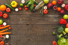Healthy Food On Rustic Wooden Table With Copy Space
