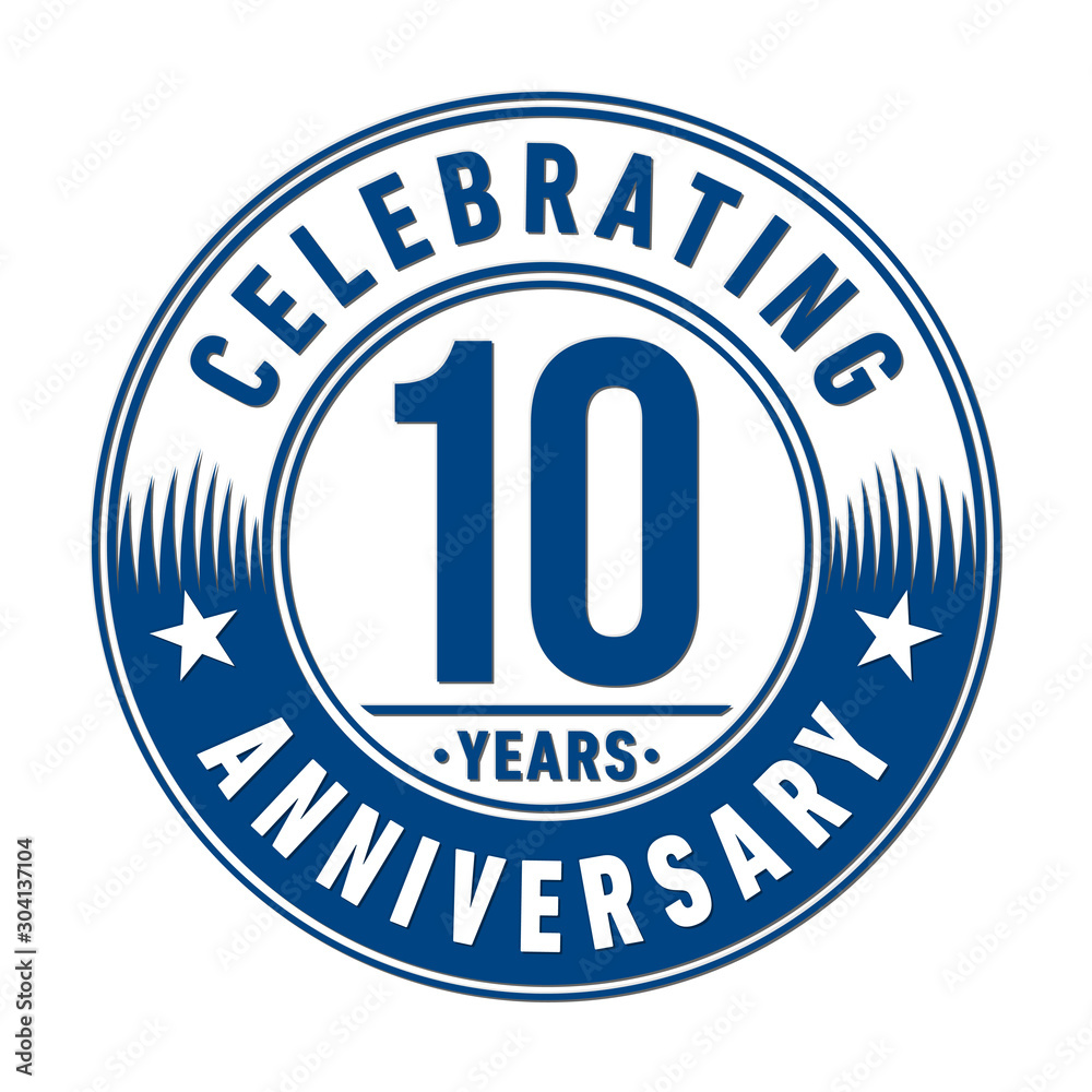 Fototapety, obrazy: 10 years logo. Ten years anniversary celebration design template. Vector and illustration.