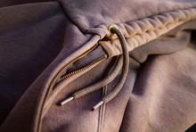 Hoody Detail Of Zipper, Hood And Ties, Still Life No People
