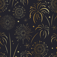 Fun hand drawn doodle fireworks, seamless pattern, great for textiles, wrapping, banner, wallpapers - vector design