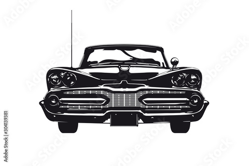 Rocznika amerykański samochód od 1959 frontowego widoku sylwetki wektoru ilustraci 1959