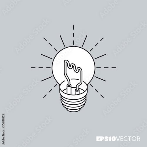 Obraz Lightbulb isometric vector icon outline symbol with white fill - fototapety do salonu