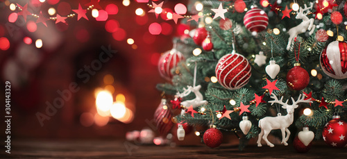 Canvas Prints Countryside Christmas Tree with Decorations