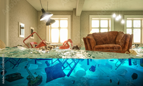 Photo living room flooded with floating chair and no one above.