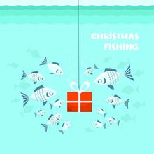 Christmas Fishing Card. Flock ...