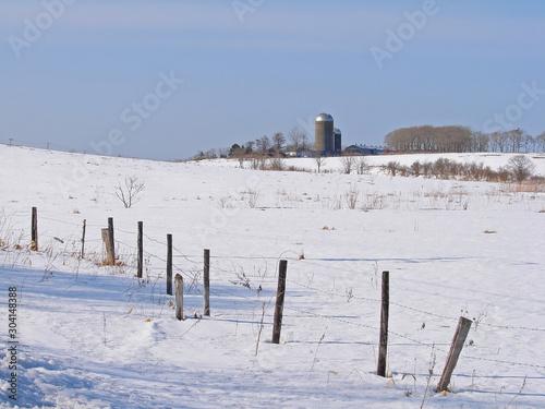 雪原と牧場のサイロ Tablou Canvas