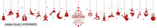 hanging christmas icons and new year greetings - 304148915