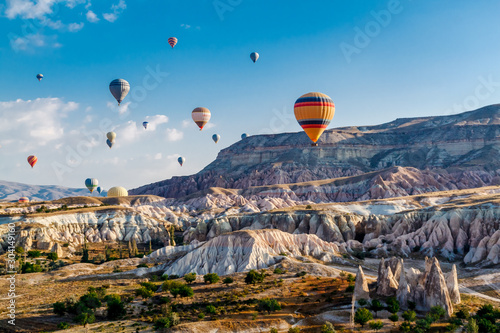 Photo Colorful hot air balloons flying over the valley at Cappadocia